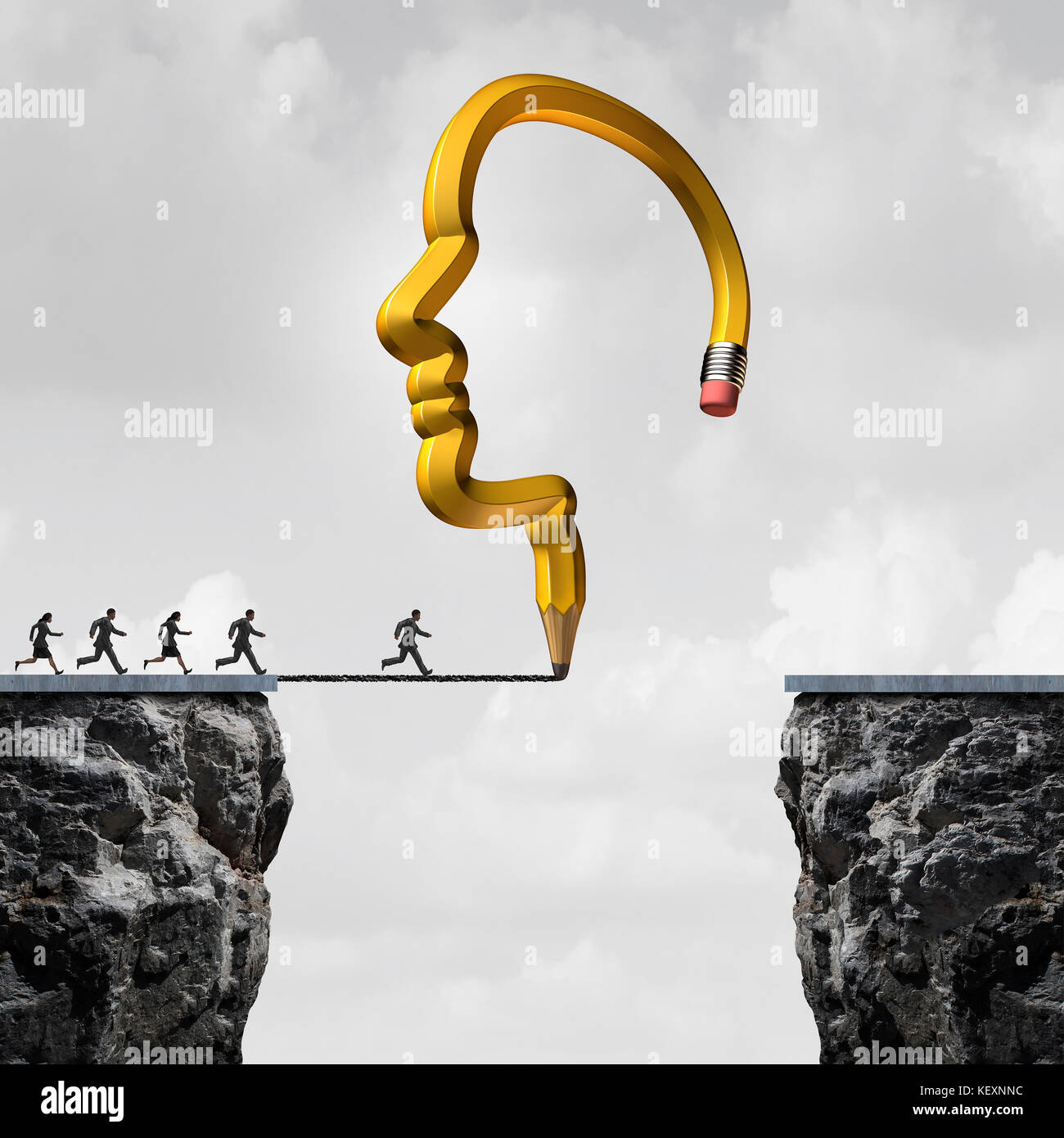Solution thinking idea as a pencil shaped as a human head drawing a line as a bridge for employees to cross with - Stock Image