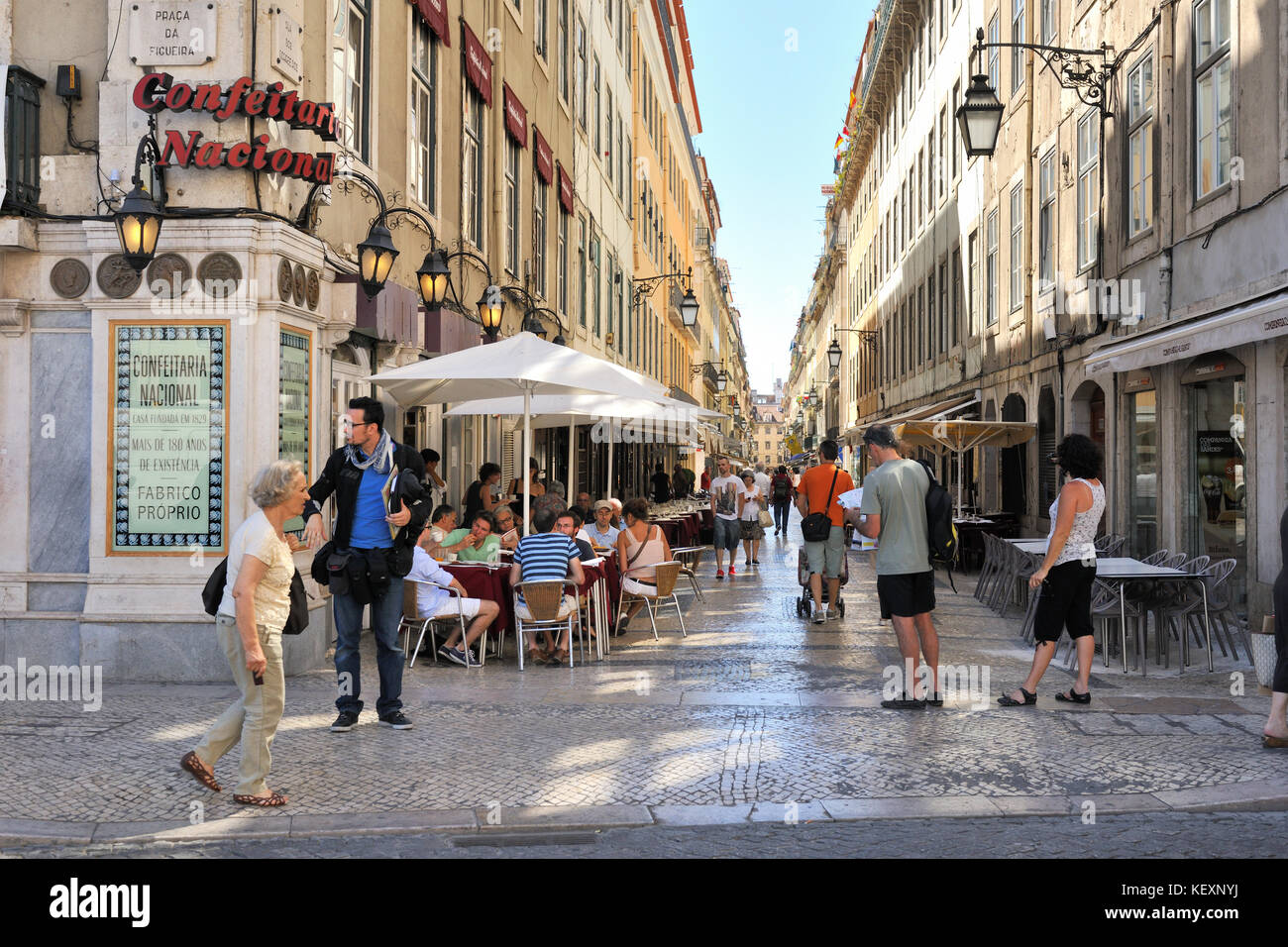 Rua dos Correeiros in the historical centre of Lisbon, Portugal Stock Photo