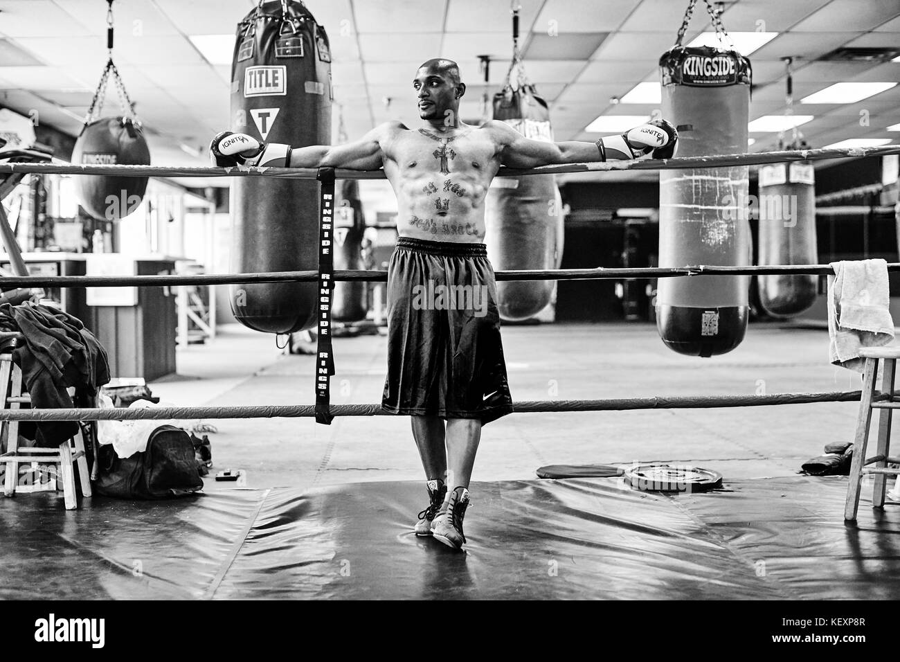 Portrait of male boxer leaning on boxing ring ropes and looking away, Taunton, Massachusetts, USA - Stock Image