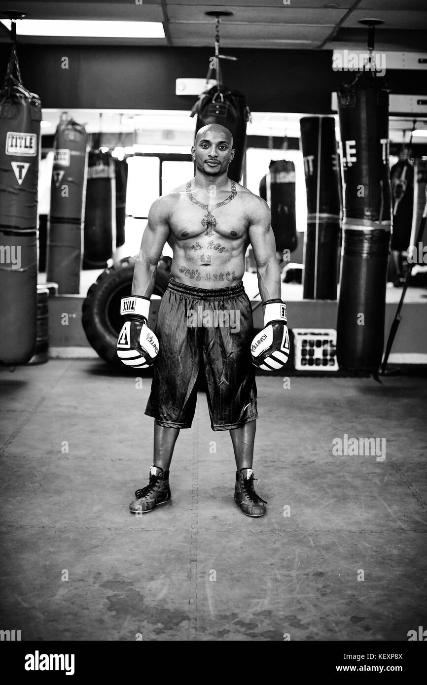 Portrait of male boxer standing confidently in gym, Taunton, Massachusetts, USA - Stock Image