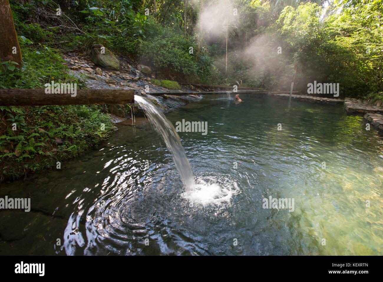 Natural hot springs pool in the jungle of Manu National Park, Peru. - Stock Image