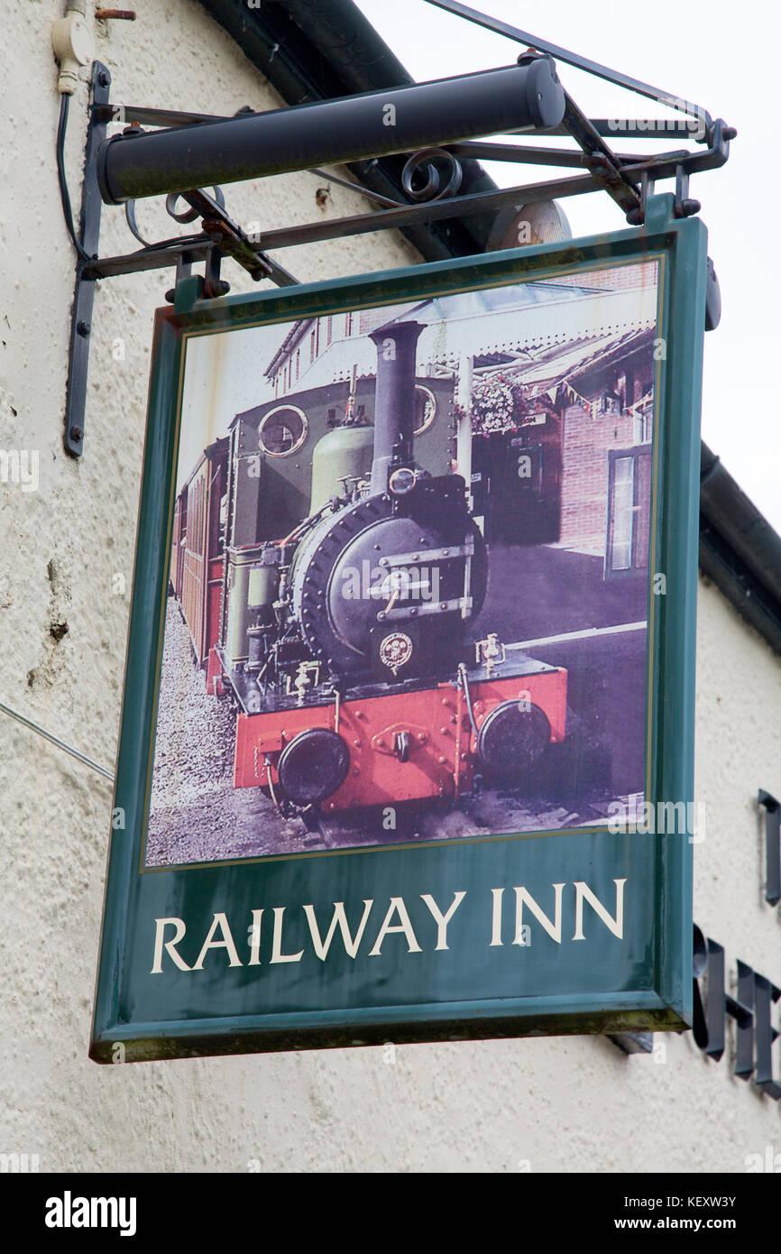 Railway Inn Pub Sign, Abergynolwyn, Tywyn; Wales; UK - Stock Image