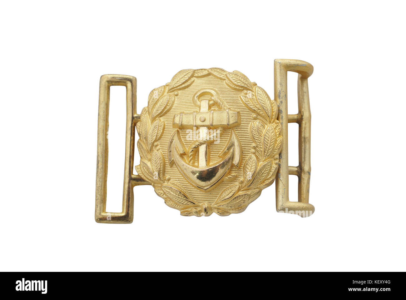 Germany at the Second World War.  Buckle of German Navy officer belt (Kriegsmarine). Brass with gilding. Paht on - Stock Image