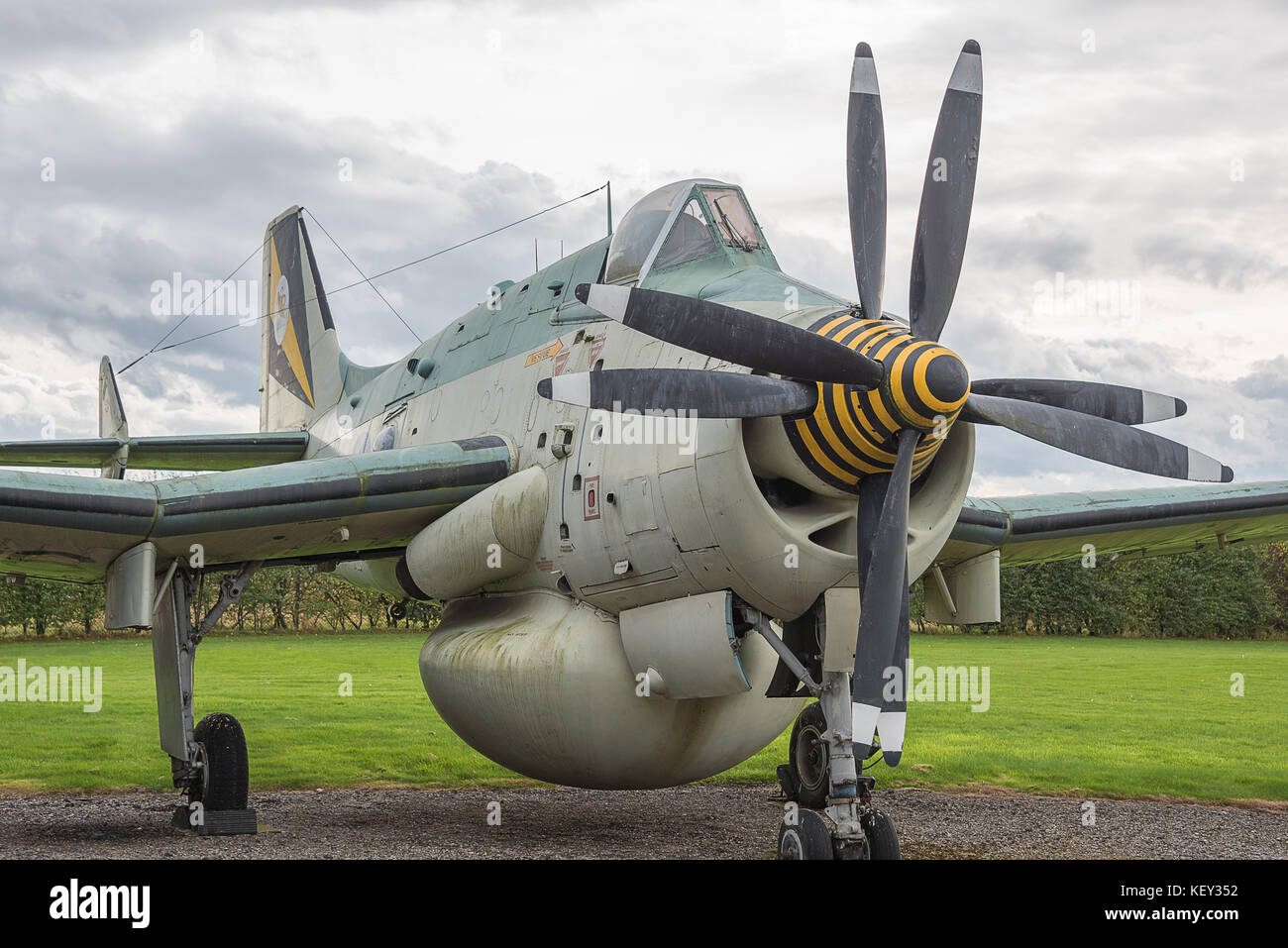 Close up photograph of a Fairey Gannet aircraft showing contact rotating propellers - Stock Image