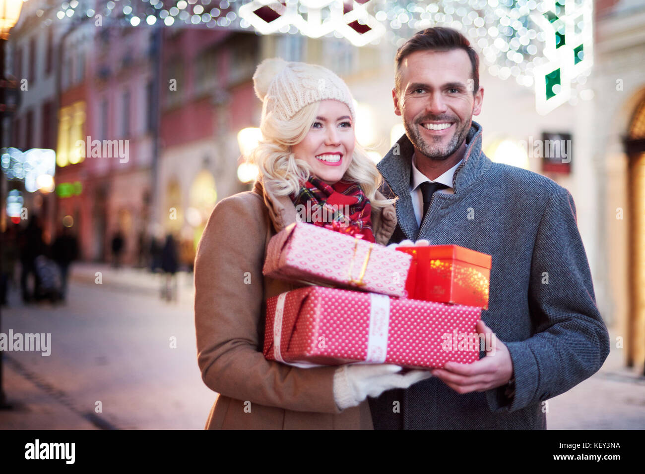 Close Up Of Couple With Full Gifts
