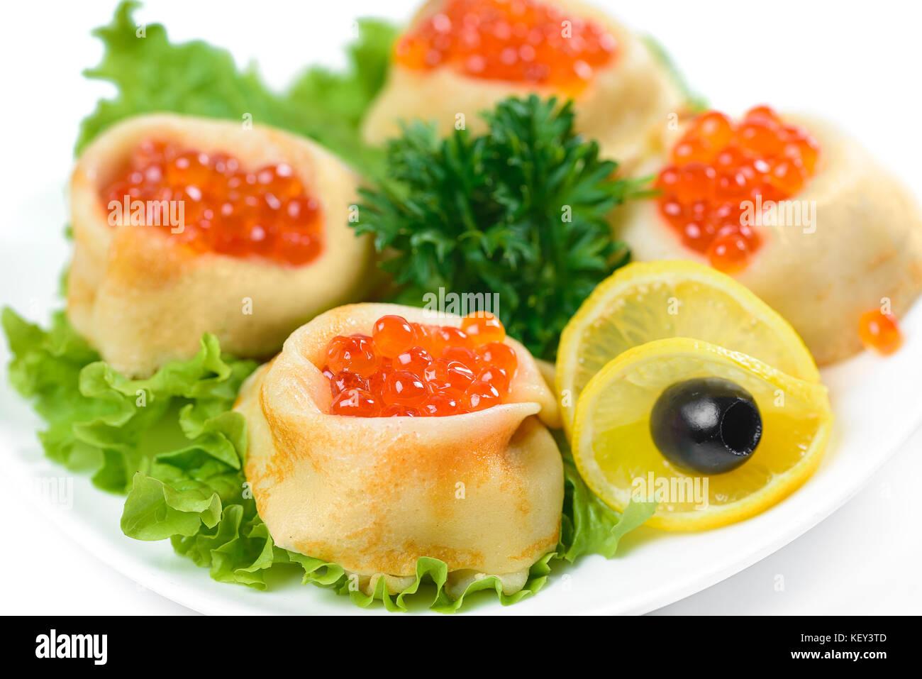 pancakes with red caviar - Stock Image
