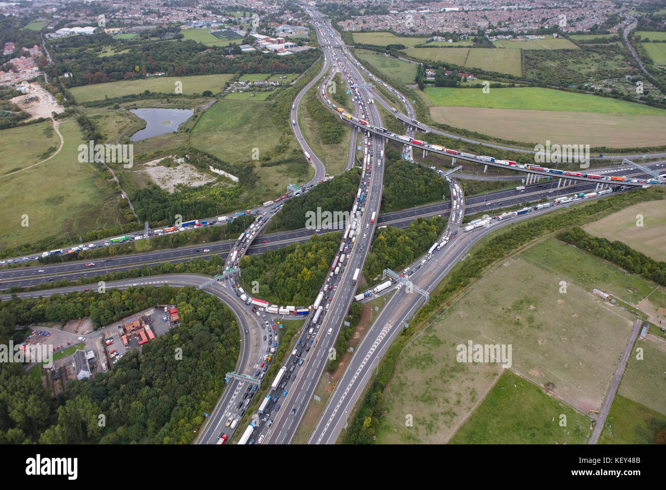 An aerial view of Motorway congestion around Junction 2 of the M25 - Stock Image