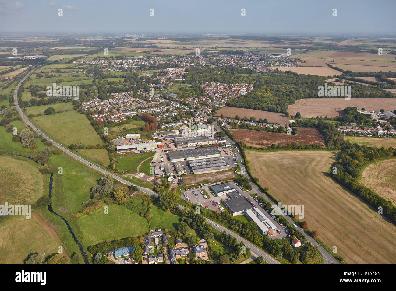 An aerial view of the large Cambridgeshire village of Sawston - Stock Image