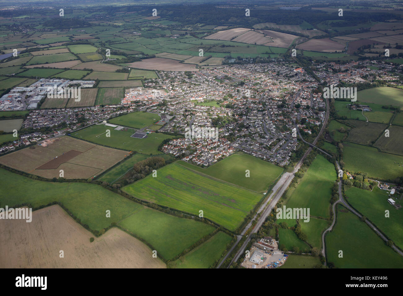 An aerial view of the Somerset town of Somerton - Stock Image