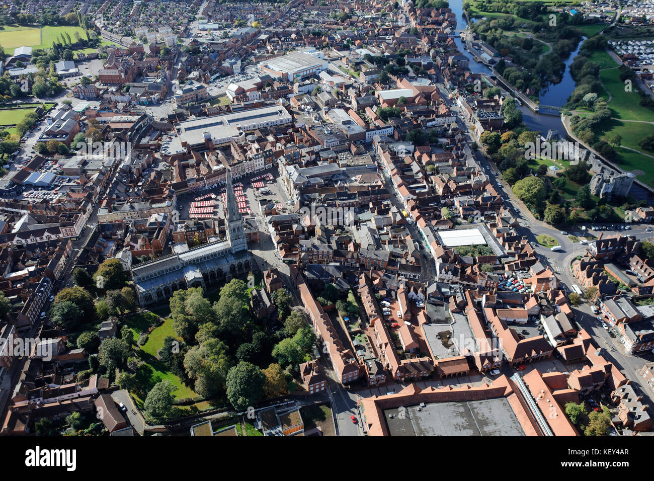 An aerial view of the town centre of Newark-on-Trent - Stock Image
