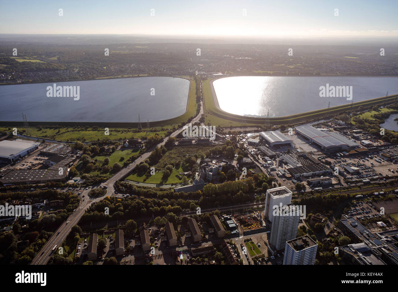 An aerial view of the King George Reservoir in the Lea Valley, East London - Stock Image