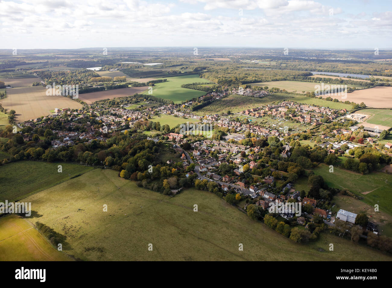 An aerial view of the village of Littlebourne in Kent, South East England - Stock Image