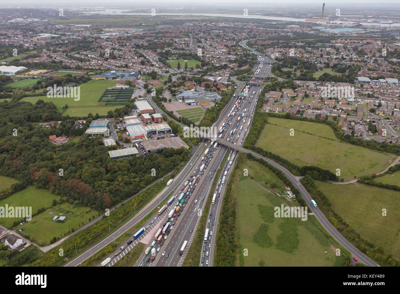 An aerial view of traffic congestion on the M25 heading from Junction 2 towards the Dartford Crossing - Stock Image