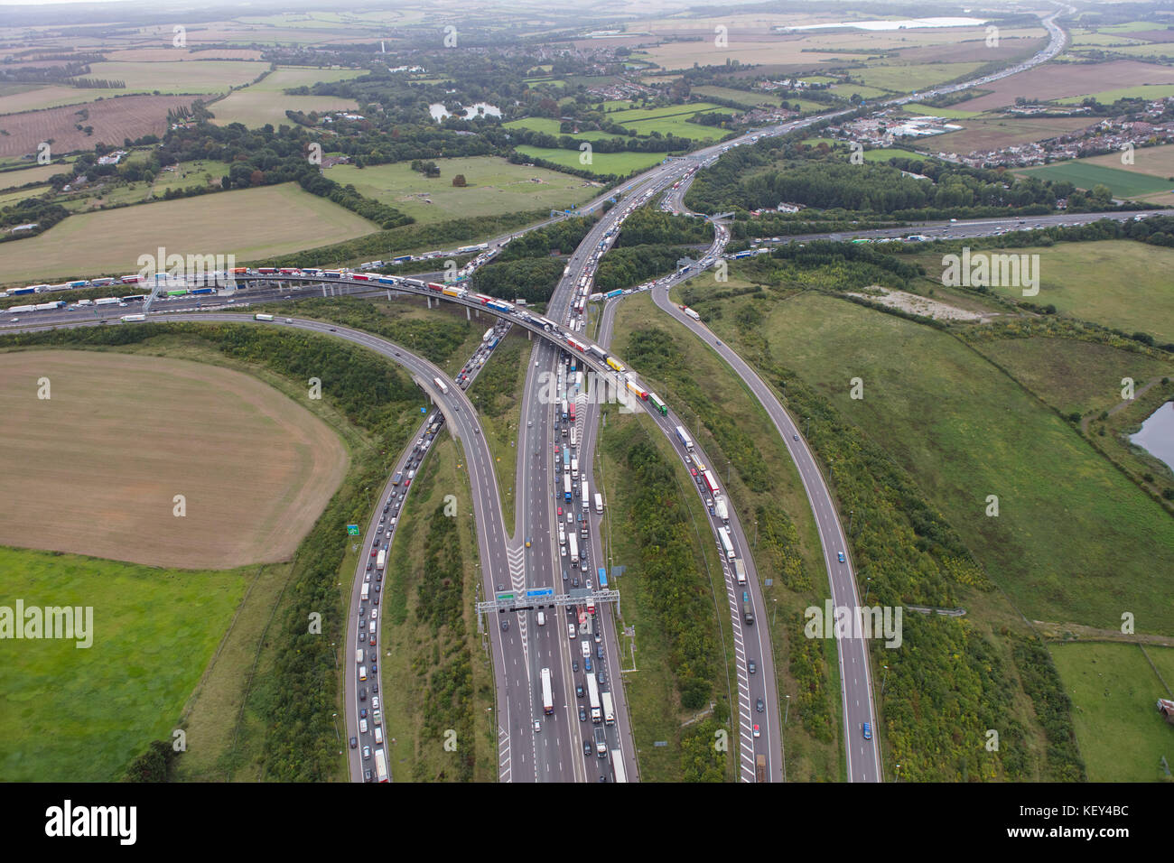 An aerial view showing traffic congestion at Junction 2 of the M25 London Orbital motorway - Stock Image