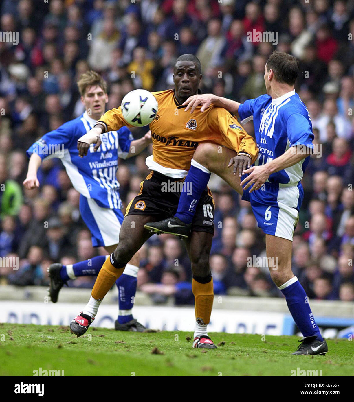 Birmingham City v Wolverhampton Wanderers football match Ade Akinbiyi and David Holdsworth - Stock Image