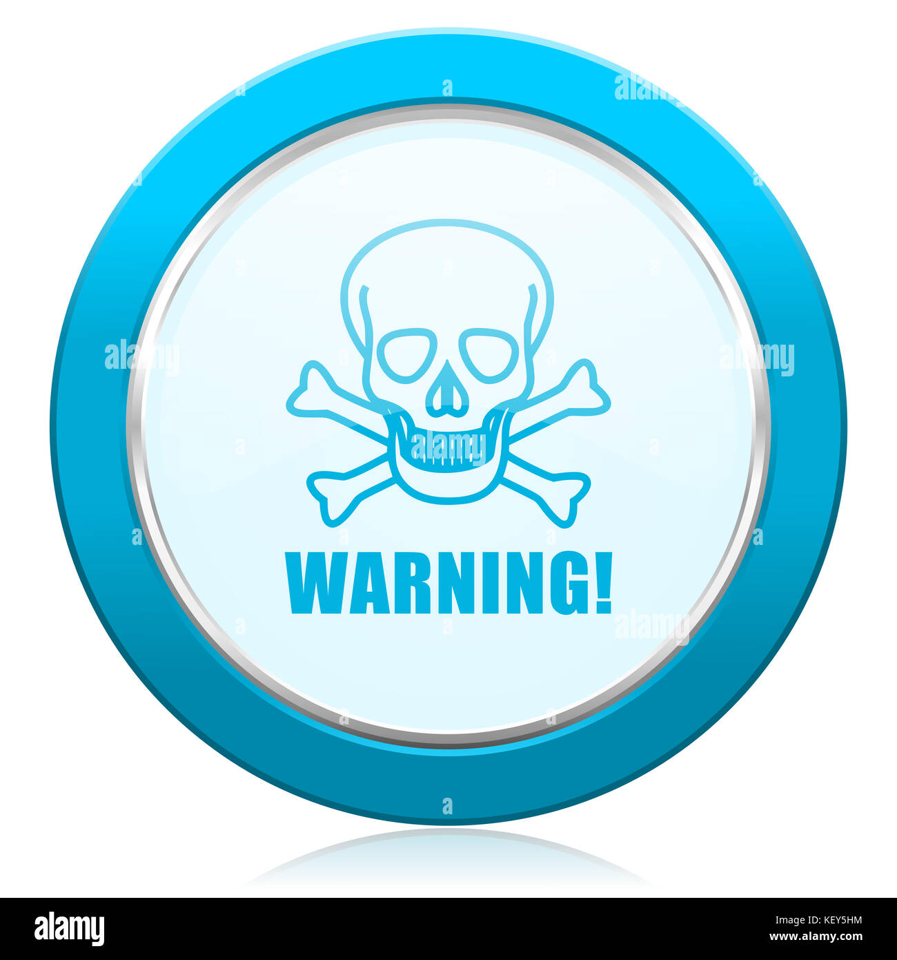 Warning skull blue chrome silver metallic border web icon. Round button for internet and mobile phone application Stock Photo