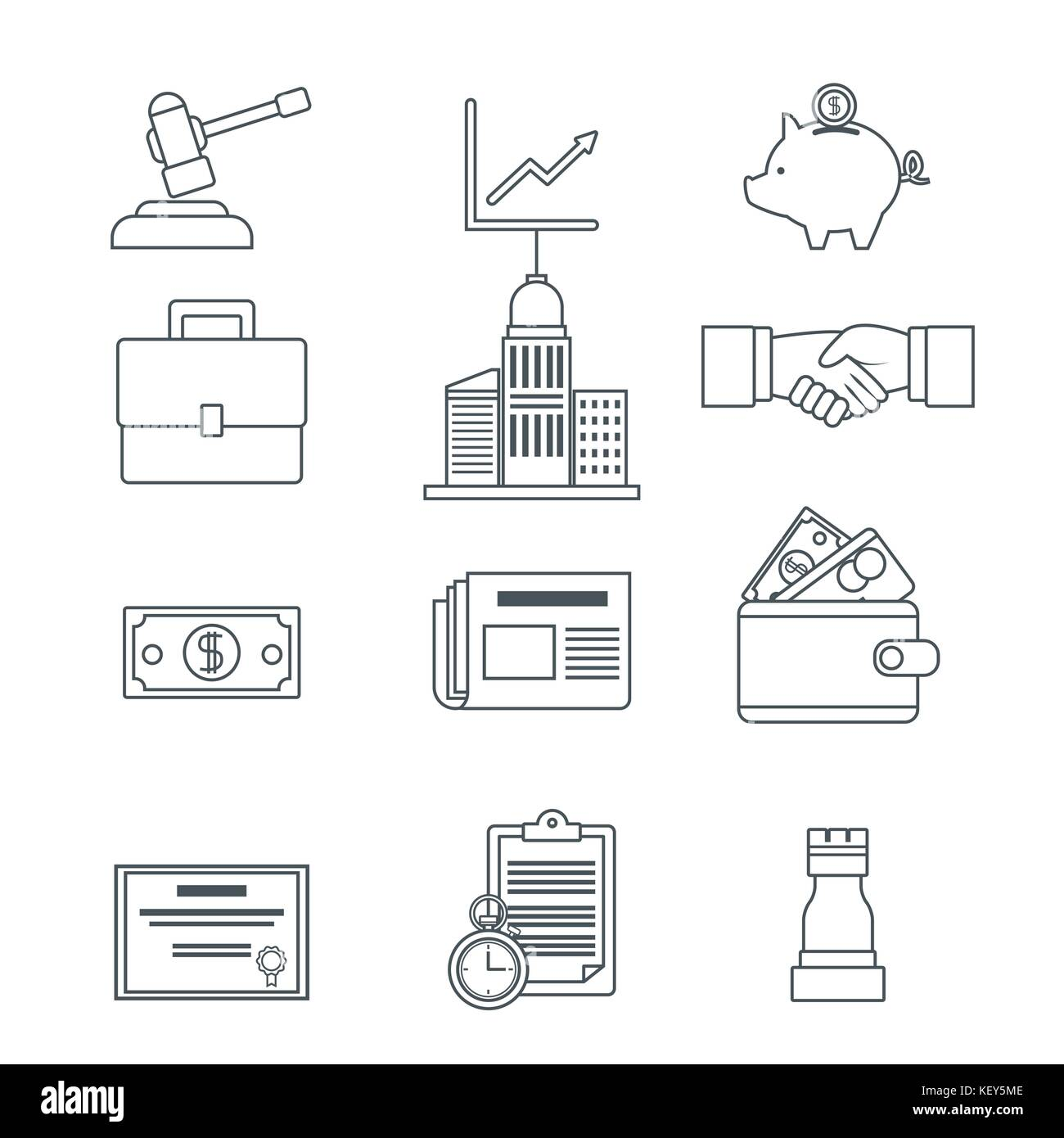 Digital marketing and business icons - Stock Image