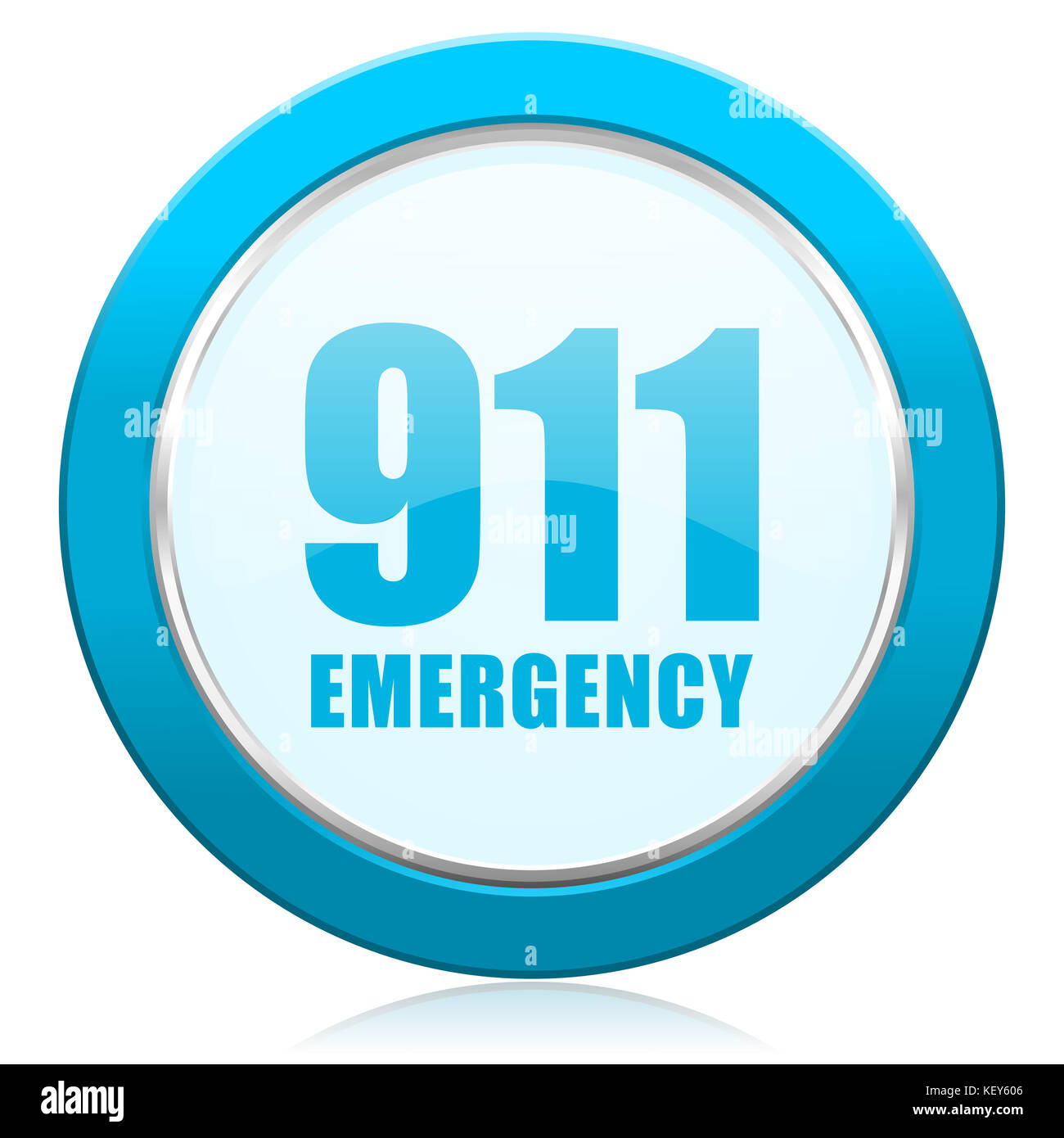 Number emergency 911 blue chrome silver metallic border web icon. Round button for internet and mobile phone application - Stock Image
