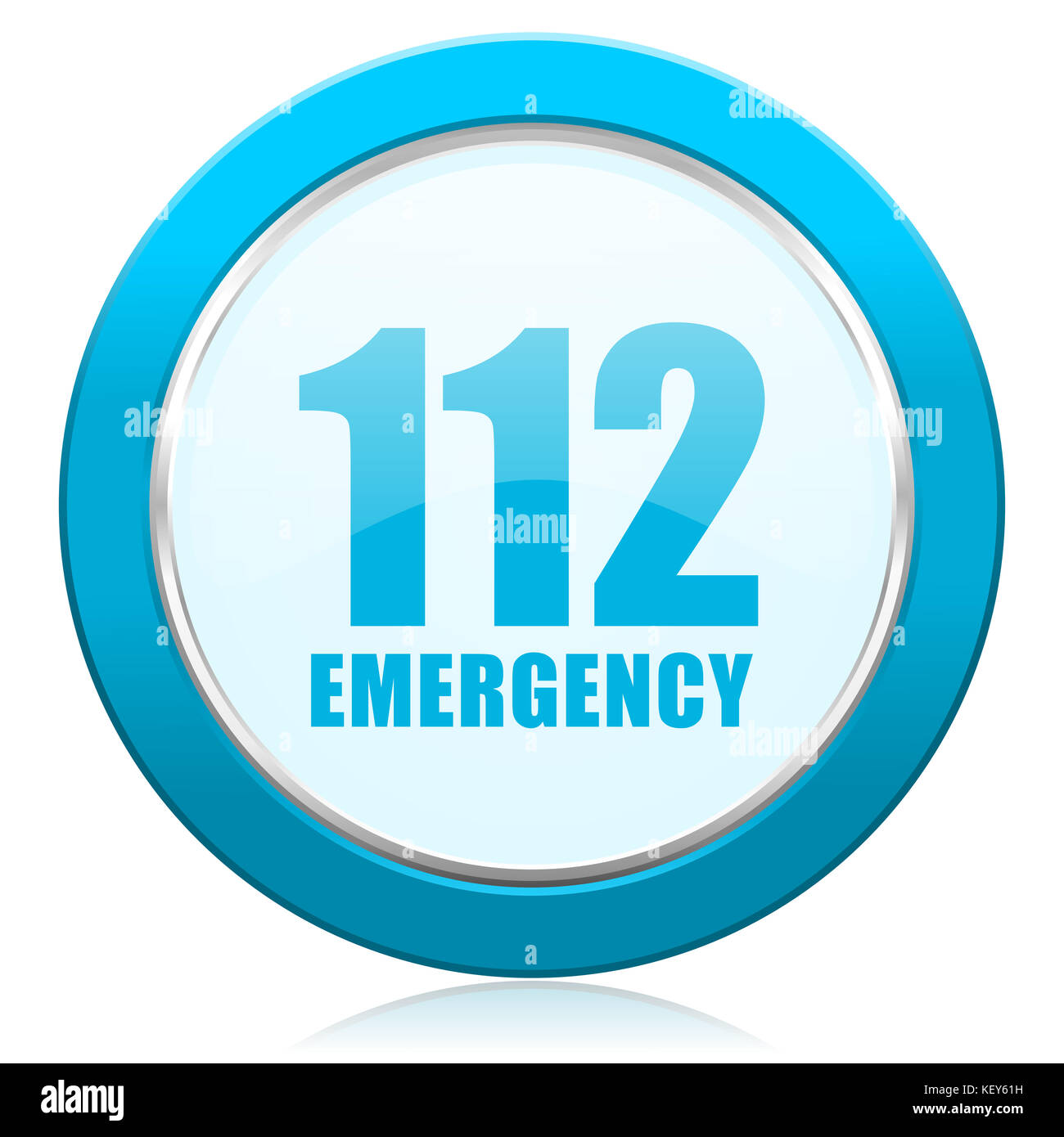 Number emergency 112 blue chrome silver metallic border web icon. Round button for internet and mobile phone application - Stock Image