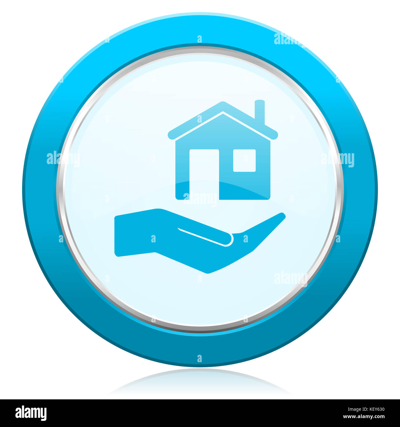 House care blue chrome silver metallic border web icon. Round button for internet and mobile phone application designers. Stock Photo