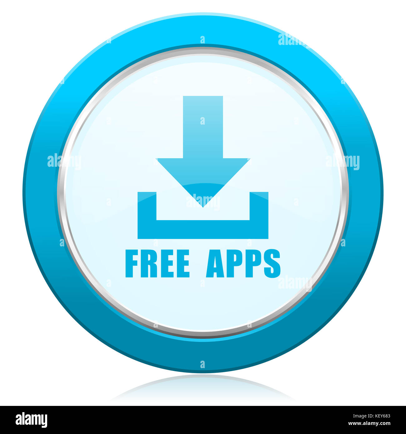 Free apps blue chrome silver metallic border web icon  Round