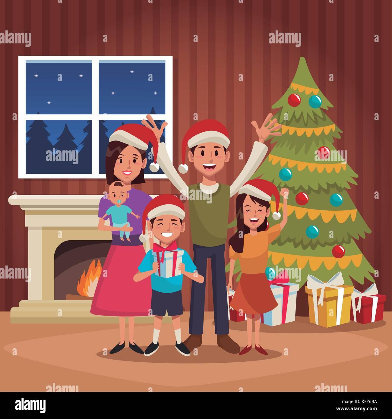 Family Christmas Cartoon Stock Vector Image Art Alamy