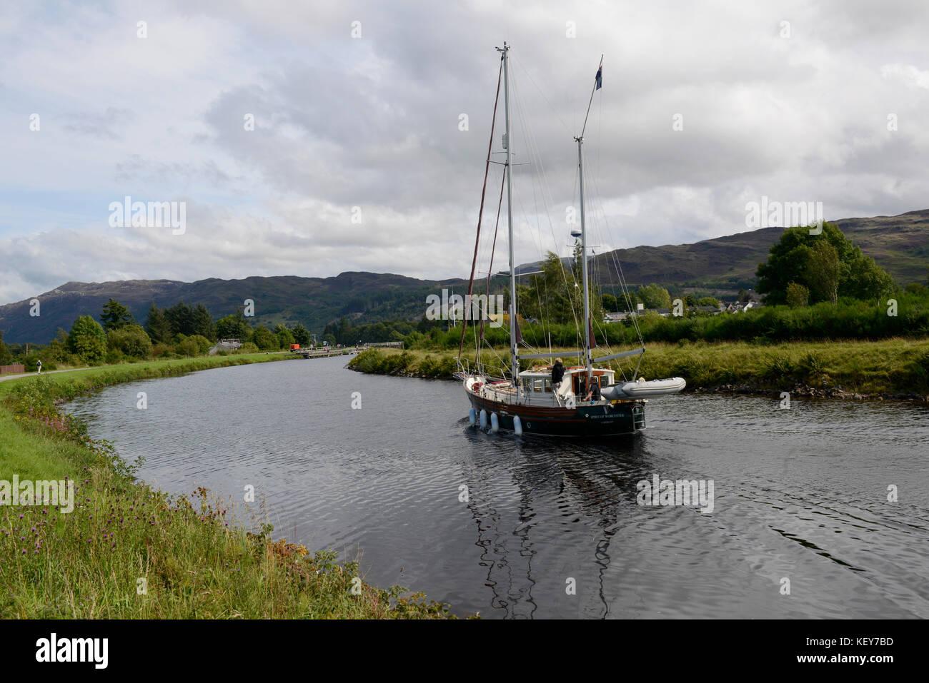 Scotland, UK.  Yacht cruising on Caledonian Canal near Loch Ness. - Stock Image