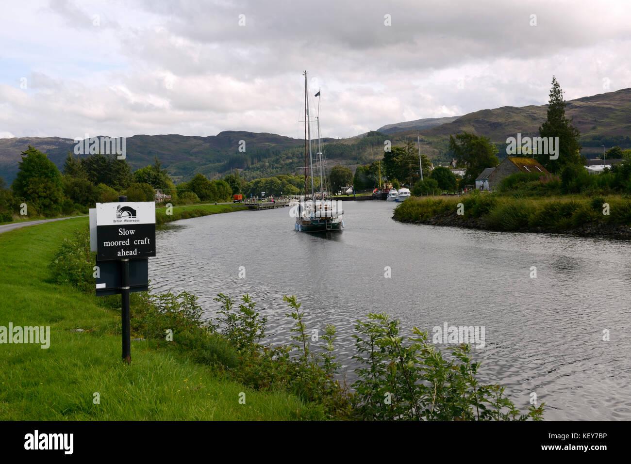 Scotland, UK.  Yacht named Spirit of Worcester cruising on Caledonian Canal near Loch Ness. - Stock Image