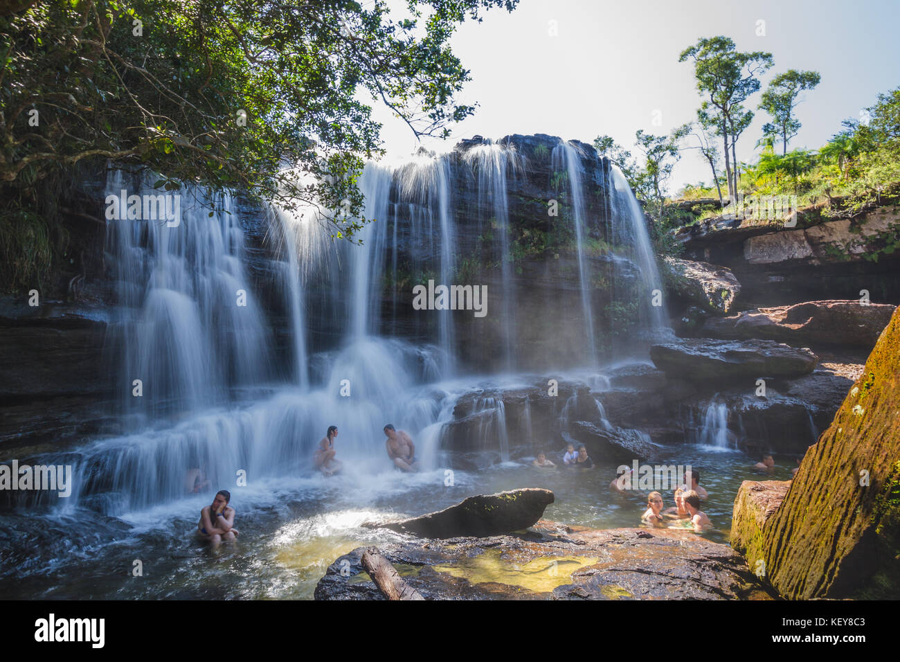 Waterfall in Caño Cristales - Stock Image