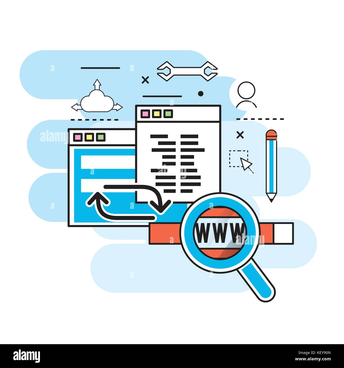 website process information to programming technology - Stock Image
