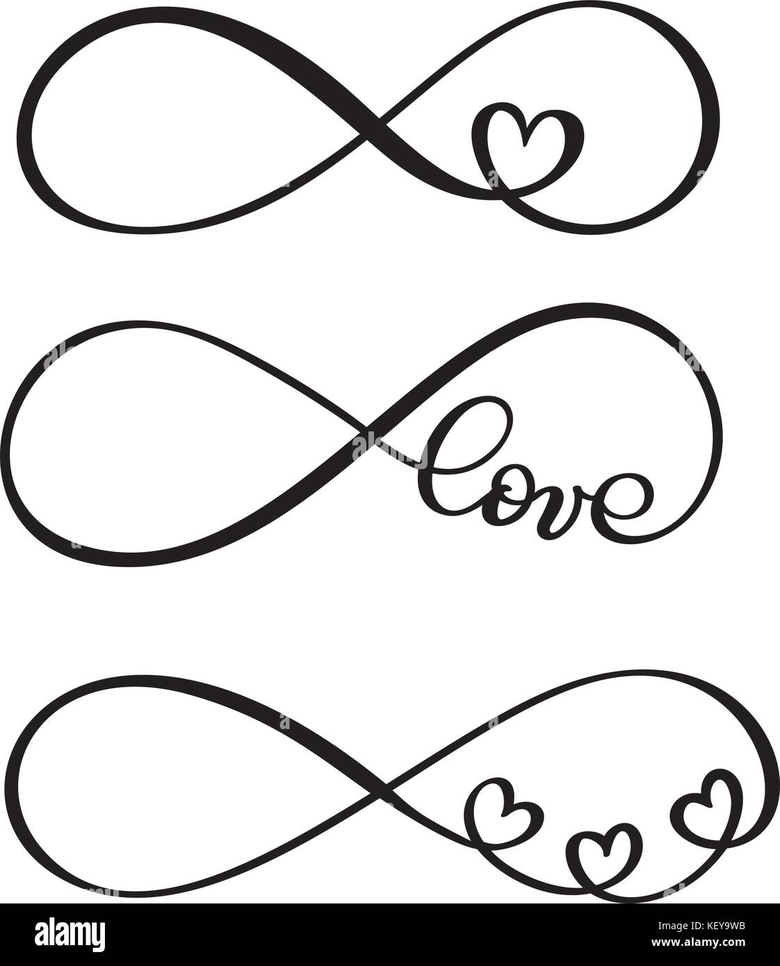 set of word LOVE original custom hand lettering, handmade calligraphy, design with elements of the flourish heart, - Stock Image