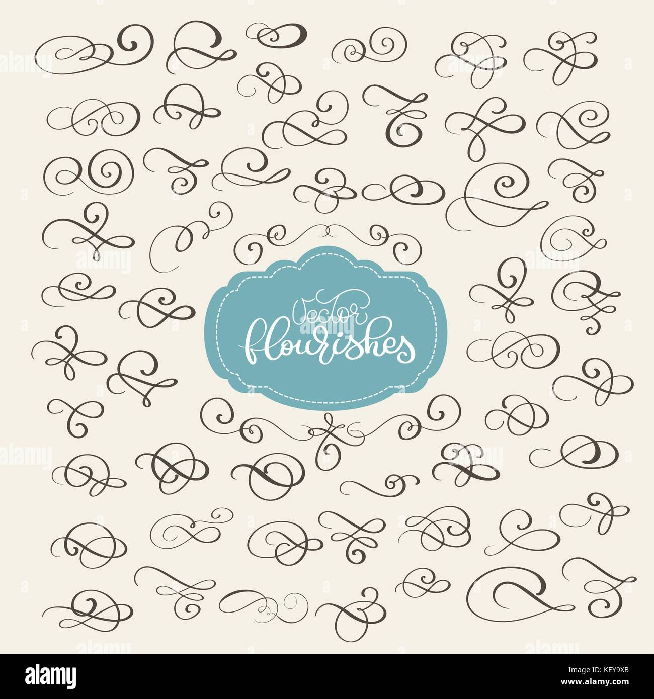 Set of flourish swirl ornate decoration for pointed pen ink stock quill pen flourishes for calligraphy graphic design postcard menu wedding invitation romantic style vector illustration stopboris Image collections