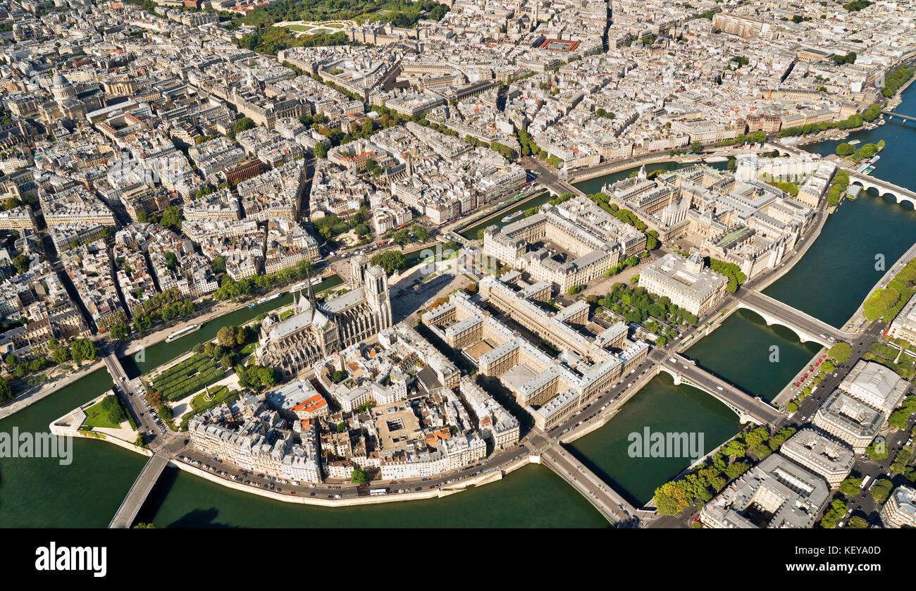 Aerial view of Ile de la Cité Paris France with Notre-Dame and Sainte Chaphine - Stock Image