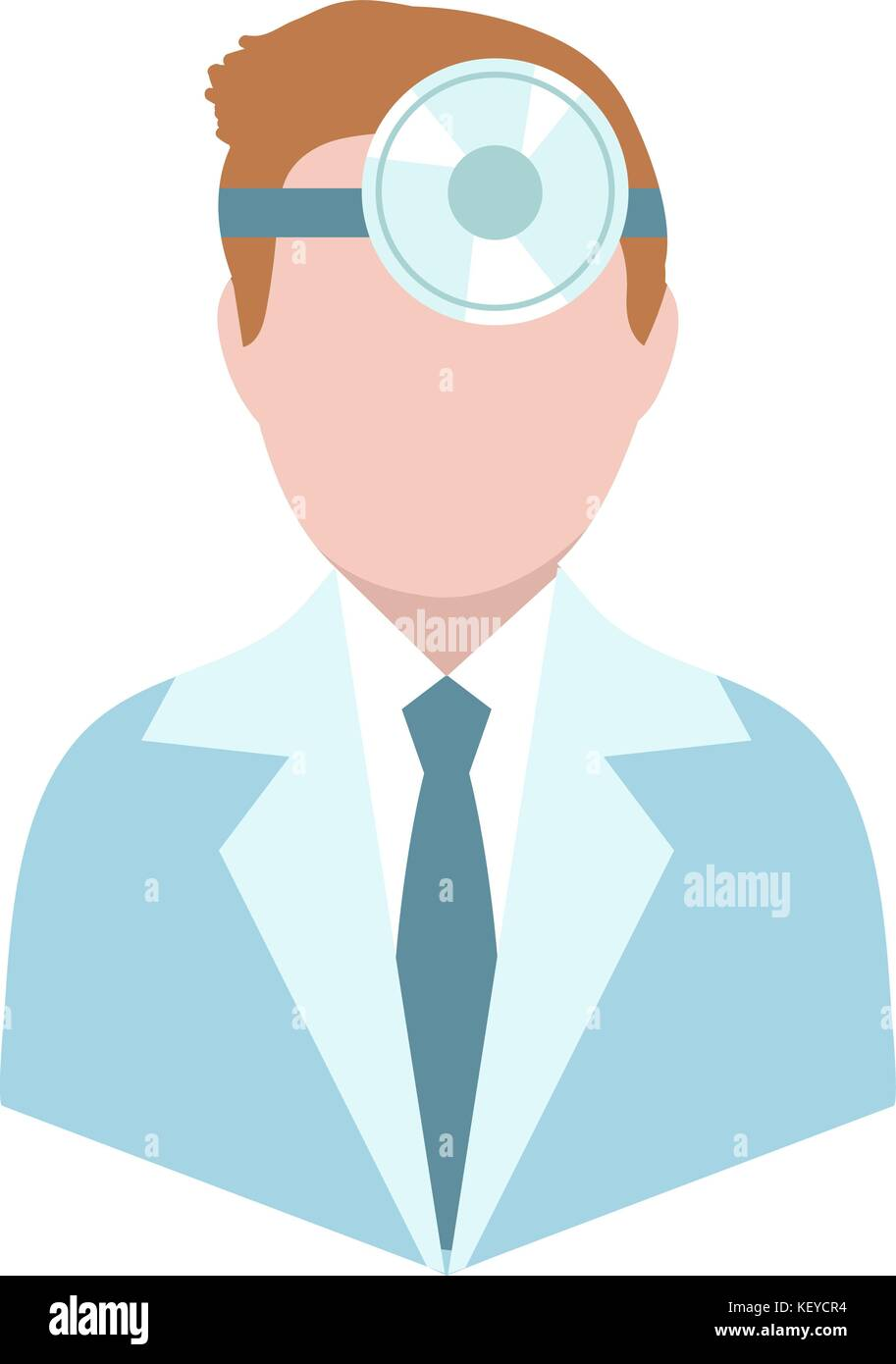 Otolaryngologist, flat style. Doctor treating ear, throat, nose. ENT avatar, isolated on white background. Medicine - Stock Image