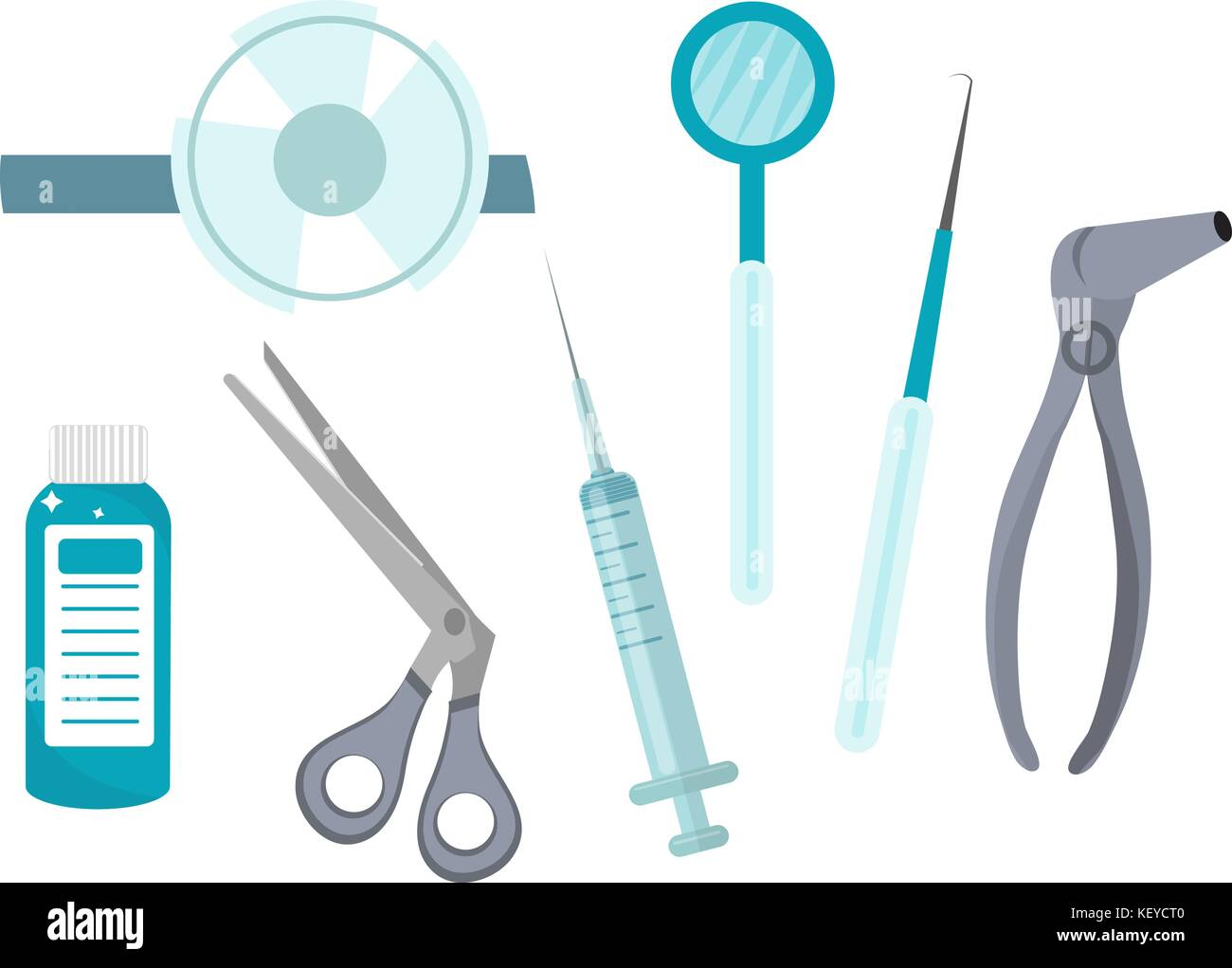 Otolaryngology tools icons, flat style. ENT equipment, isolated on white background. Medicine concept. Vector illustration. - Stock Image