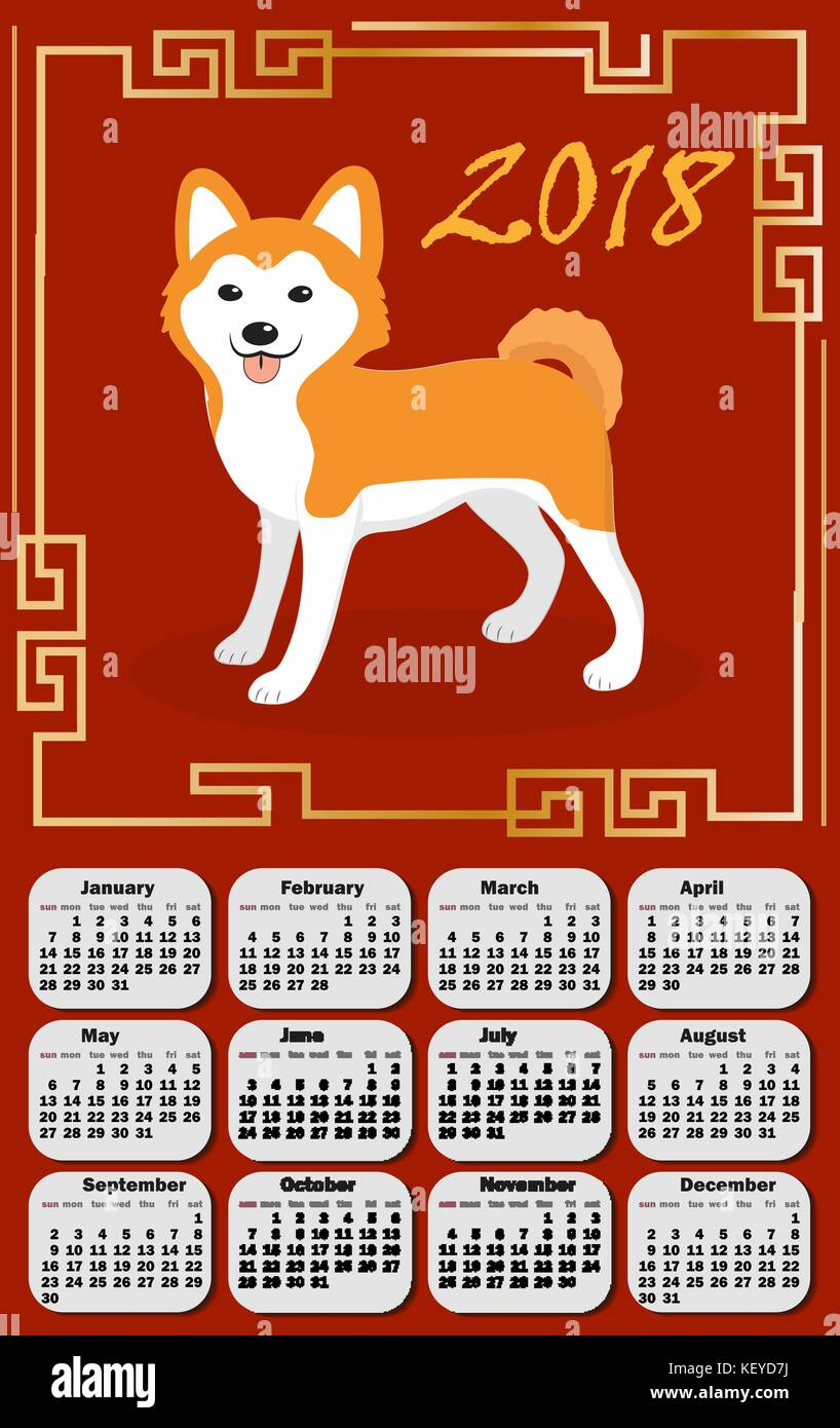 Calendar 2018 in the asia style with dog and Chinese frame. Week starts from monday. Template for your design on - Stock Vector