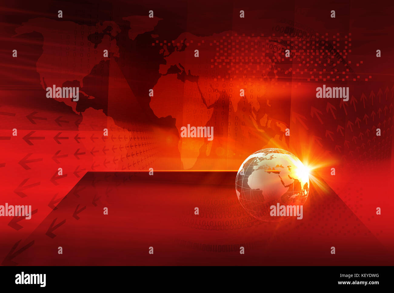 Graphical digital world news background earth globe on a flat stage graphical digital world news background earth globe on a flat stage in front of red warm color theme backdrop with digital world map gumiabroncs Images