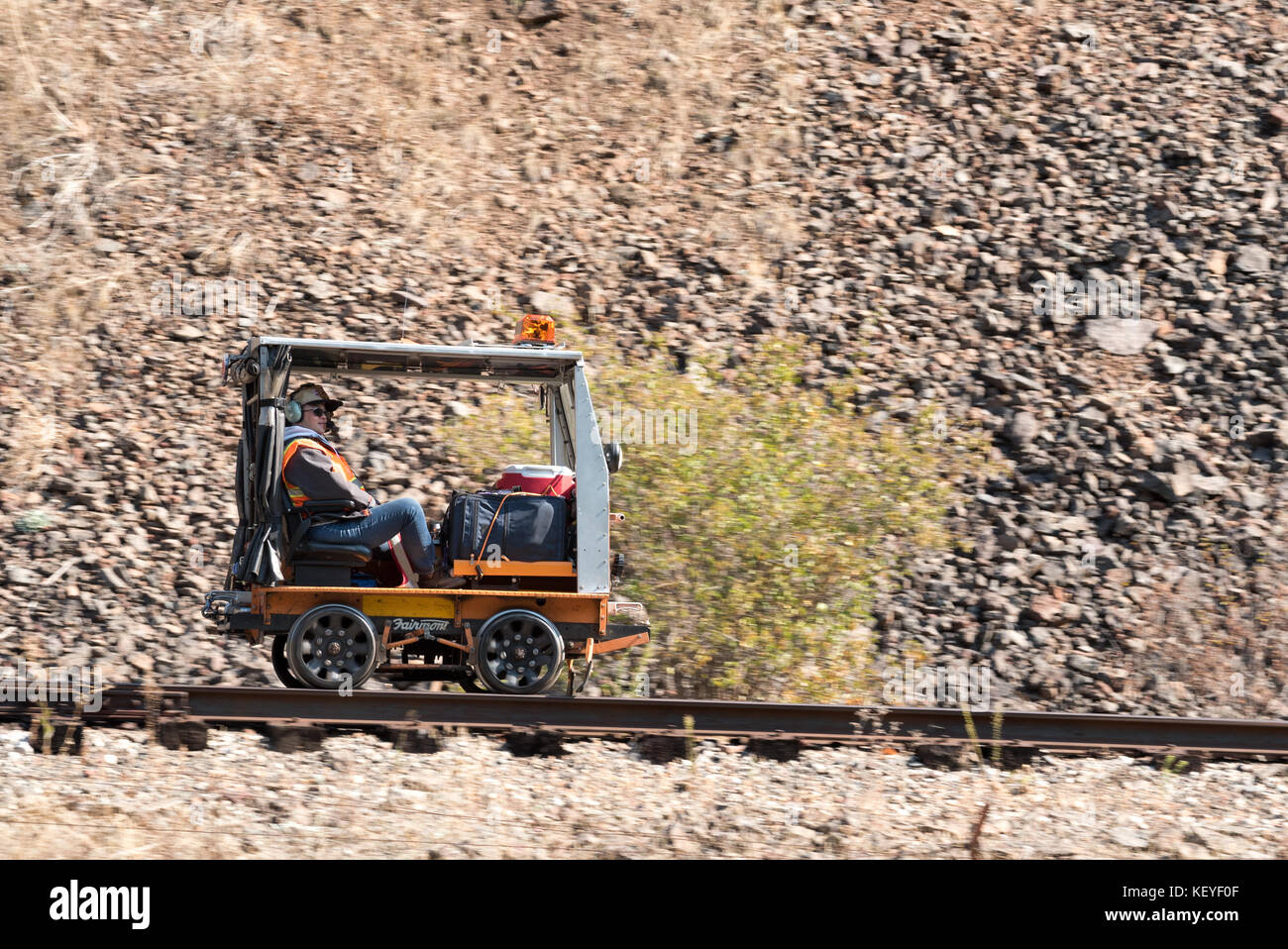 Touring on the Union - Wallowa Railroad in Northeast Oregon in a speeder (also known as railway motor car, putt - Stock Image