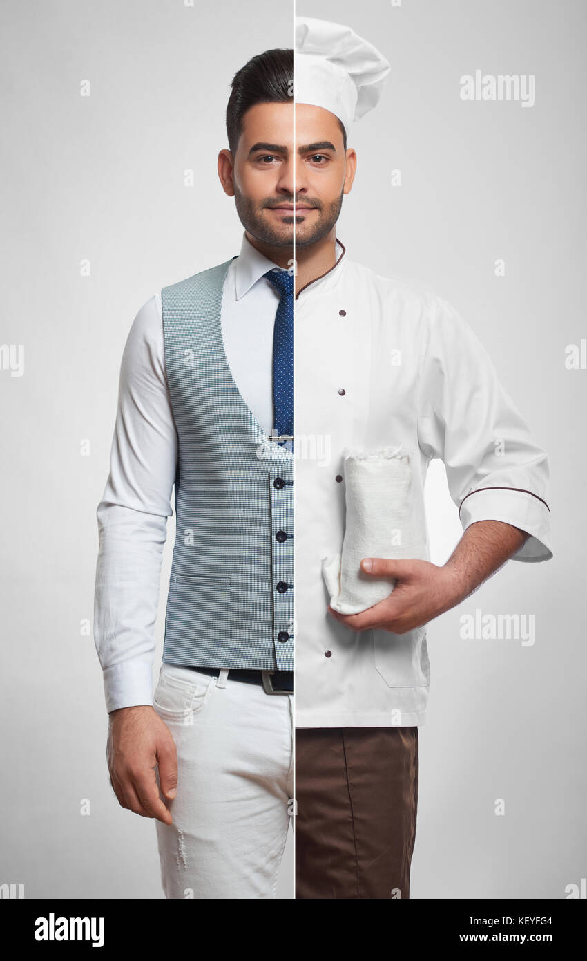 Combined photo of a businessman and chef - Stock Image