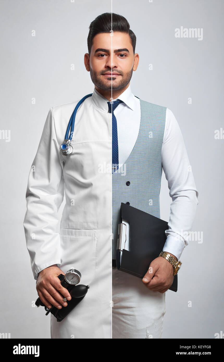Combined photo of a businessman and doctor - Stock Image