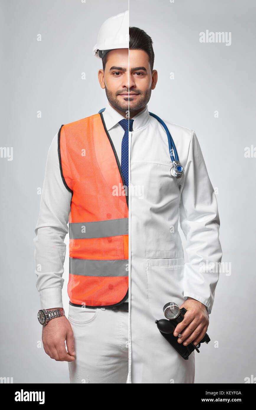 Combined photo of a constructionist and doctor - Stock Image