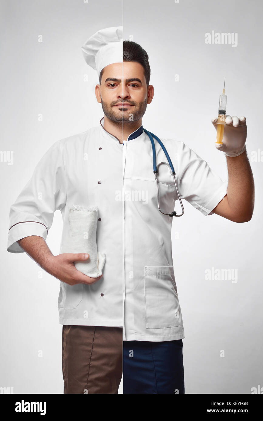 Combined photo of a chef and doctor - Stock Image