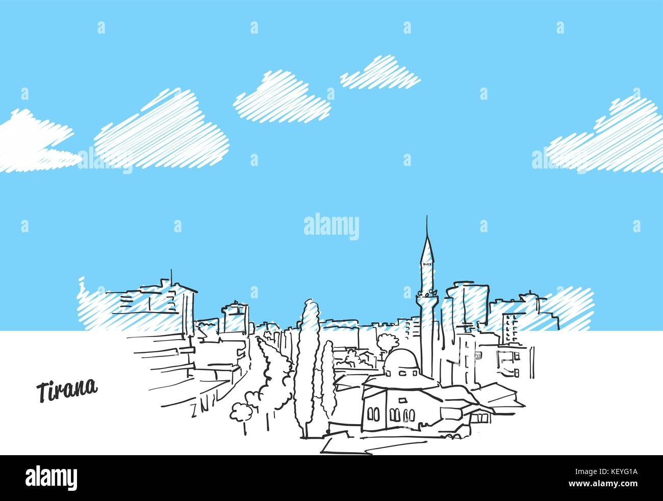 Tirana, Albania Famous Skyline Sketch. Lineart drawing by hand. Greeting card icon with title. Vector Illustration - Stock Vector
