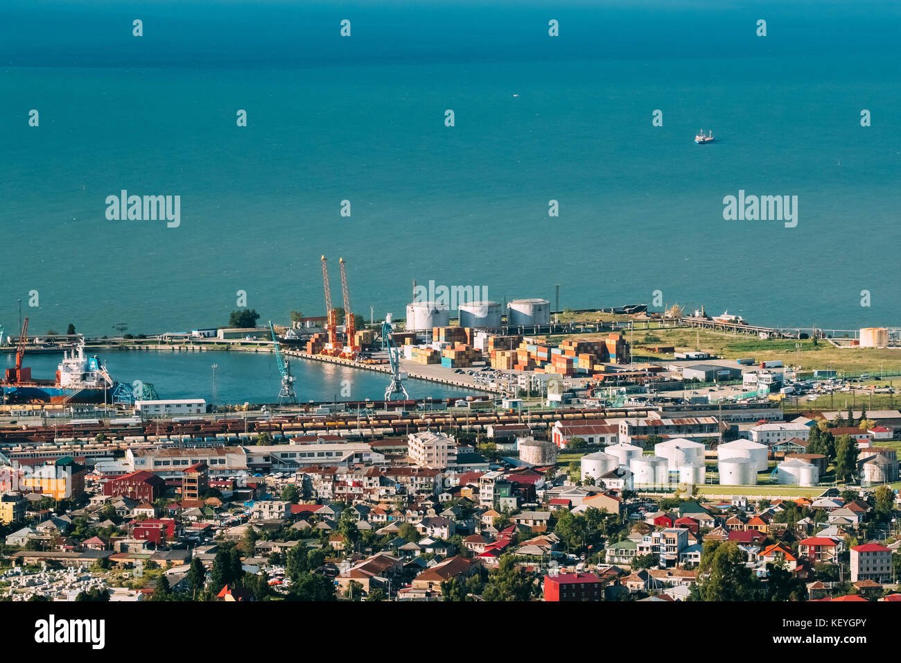 Batumi, Adjara, Georgia. Aerial View Of Black Sea, Port And Fuel Storage In Sunny Summer Day - Stock Image