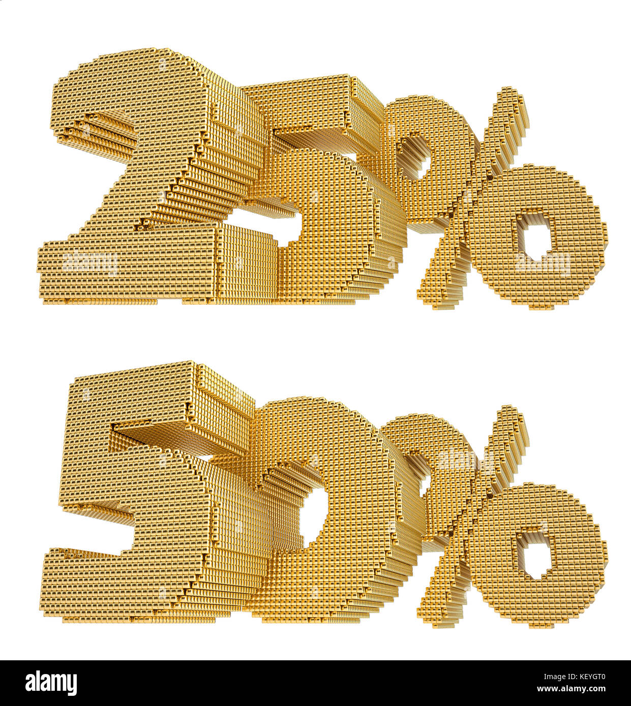25% and 50%% discount - build from golden cubes - isolated on white background - 3D Rendering - Stock Image