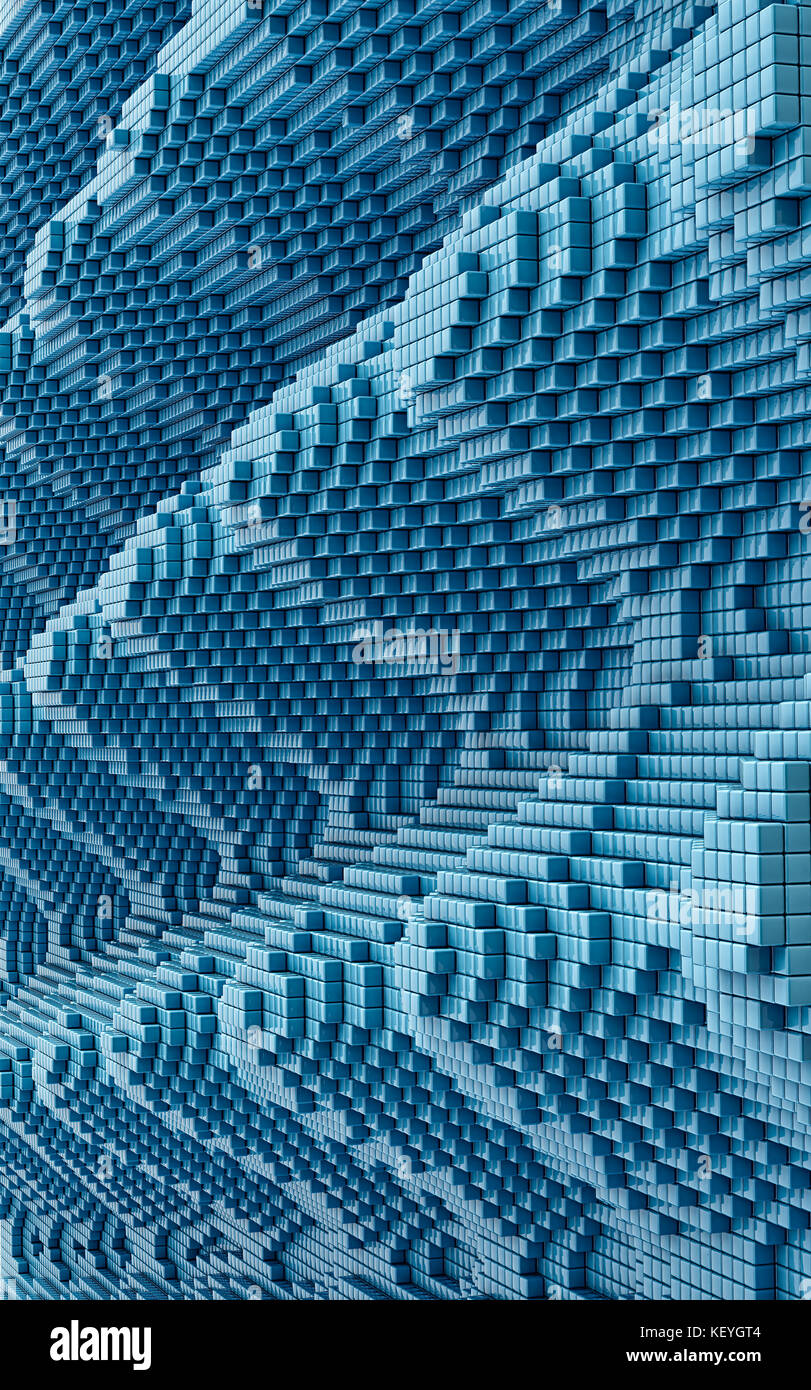 Voxel Wall - 3D Rendering - Stock Image