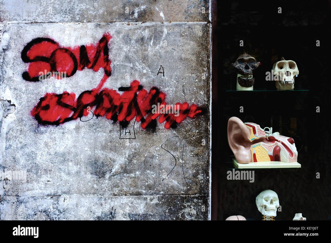 We are spain graffiti barcelona spain stock image