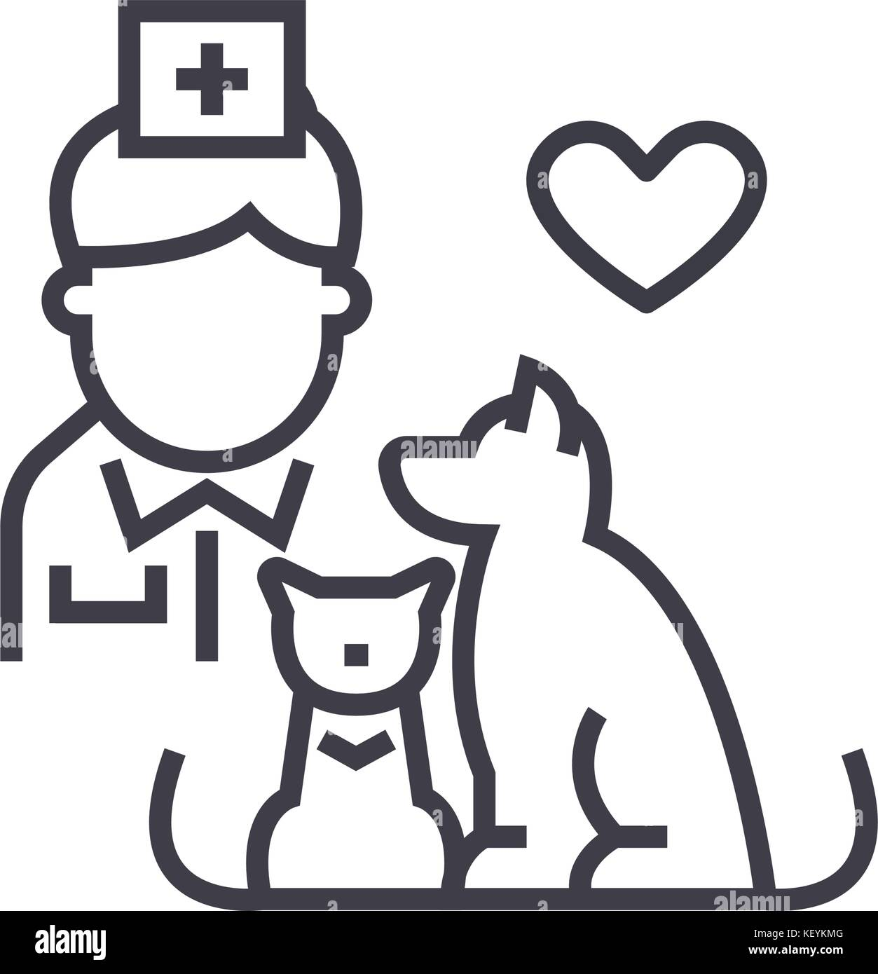 veterinarian with dog and cat linear icon, sign, symbol, vector on isolated background - Stock Vector