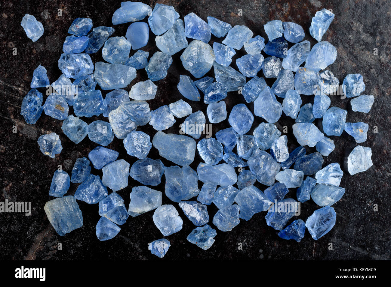 Collection of lovely blue rough and uncut sapphire gemstones
