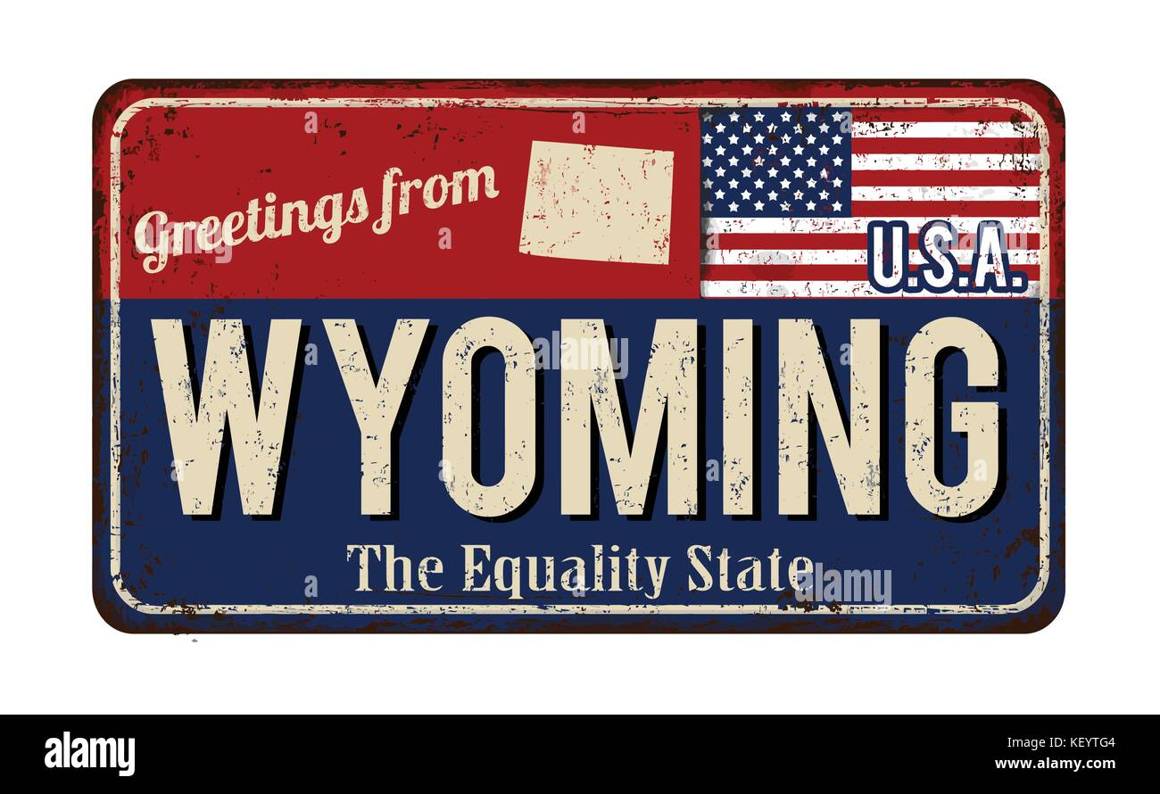 Welcome to wyoming sign stock photos welcome to wyoming sign stock greetings from wyoming vintage rusty metal sign on a white background vector illustration stock kristyandbryce Images